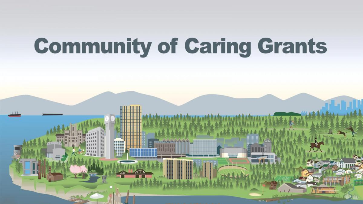 Community of Caring Grant with graphic of mountains and UBC landscape featuring campus buildings amongst trees